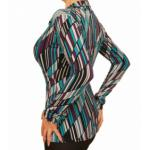 Teal and Purple Print Collared Stretchy Top