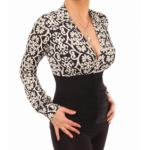 Black and Ivory Printed Corset Top