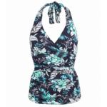Navy Blue and Turquoise Floral Halter Neck Top