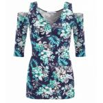 Navy and Turquoise Floral Cold Shoulder Top