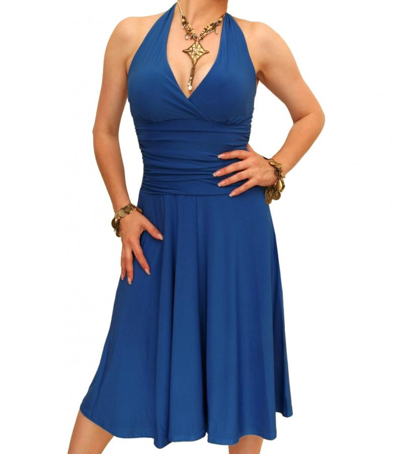Blue Halter Neck Dress