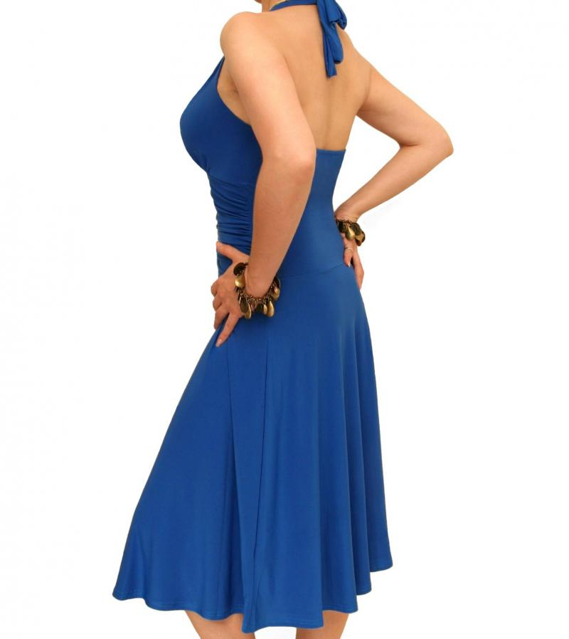Just Blue Blue Halter Neck Dress