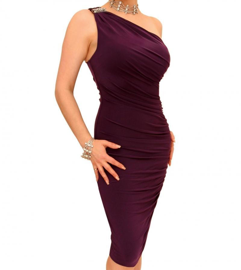 Purple Figure Hugging Diamante Dress