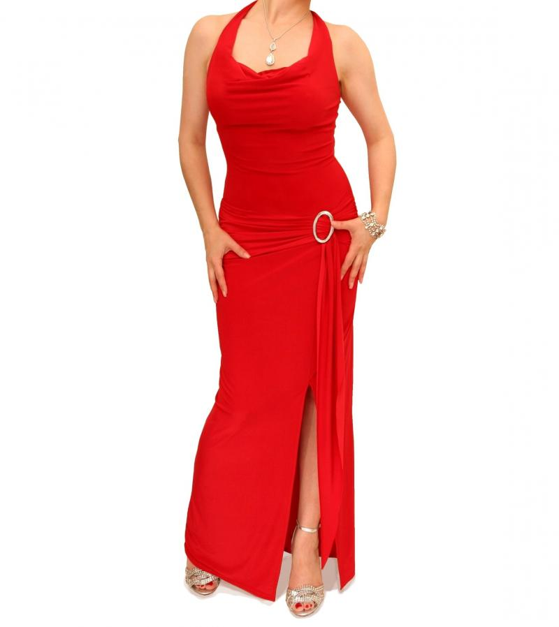 Red Cowl Neck Long Evening Dress