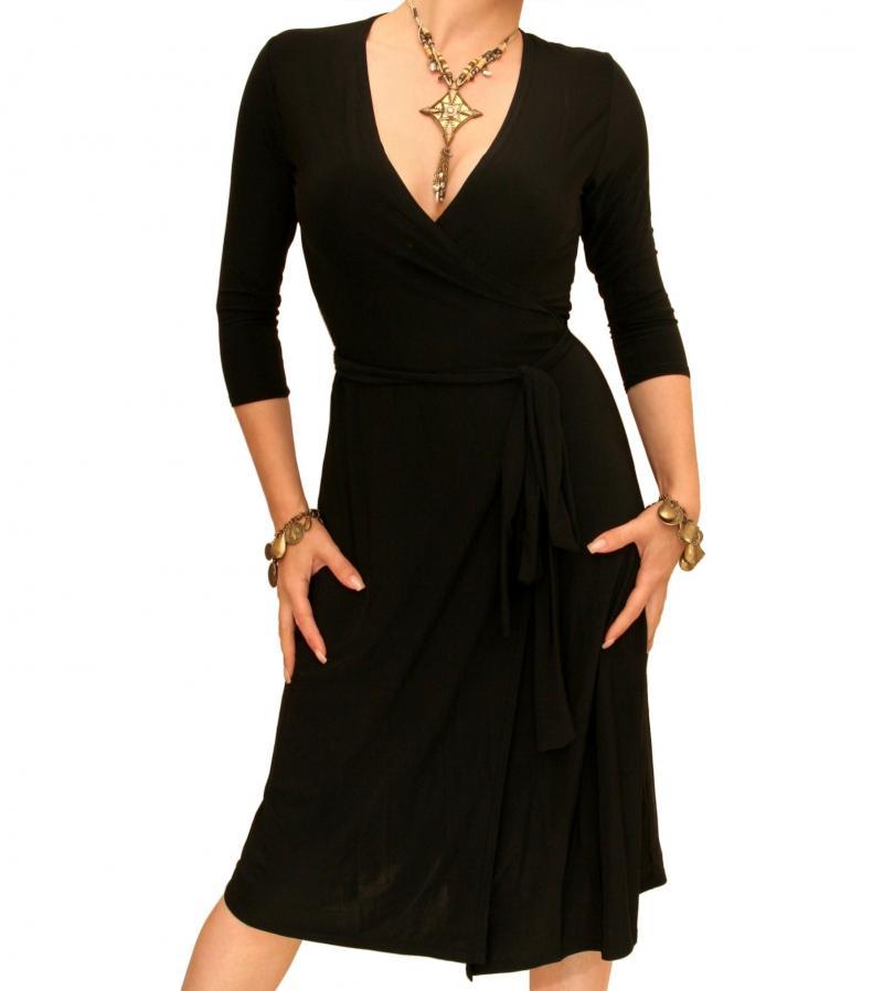 Black Elegant Wrap Dress
