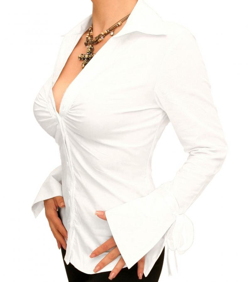 White Bell Sleeve Fitted Shirt
