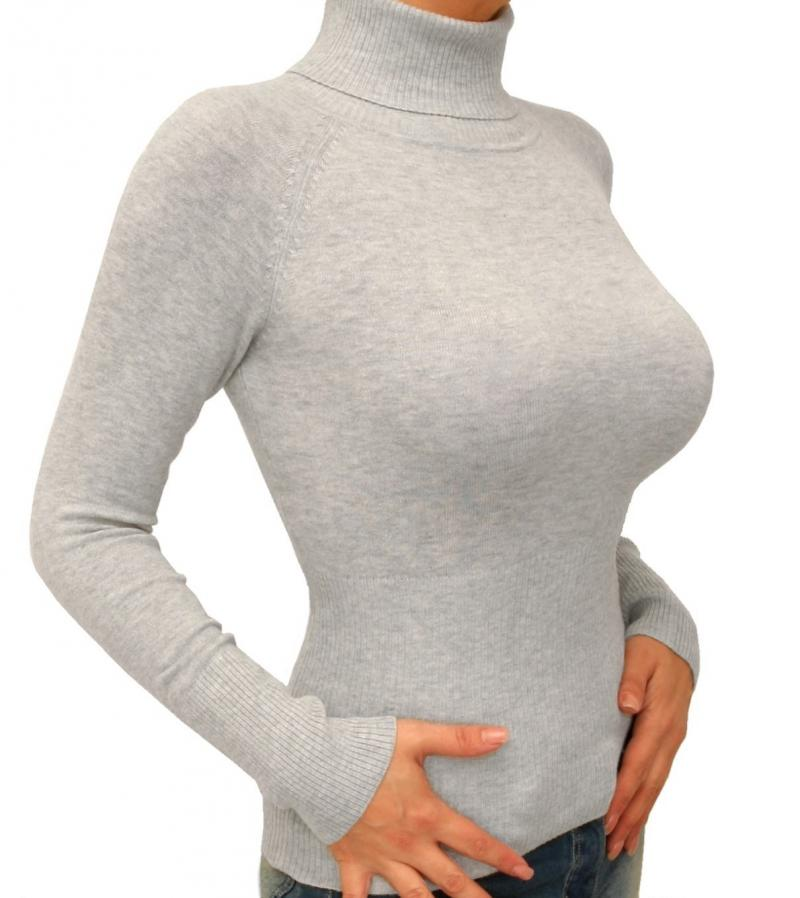 Light Grey Polo Neck Clingy Jumper