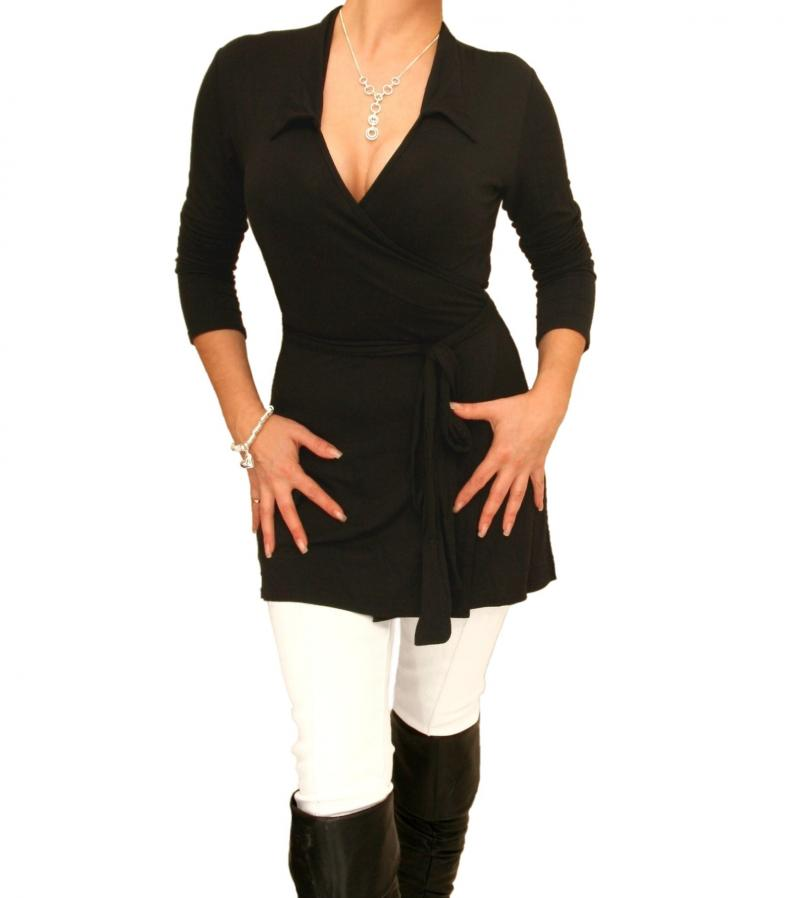 Just Blue Black Tunic Wrap Top