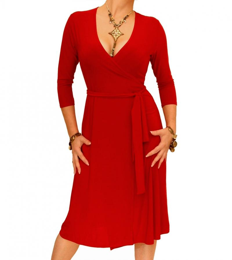 Red Elegant Wrap Dress