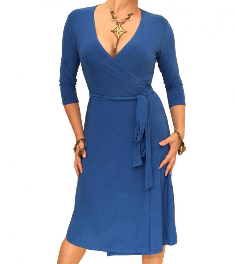 Blue Elegant Wrap Dress