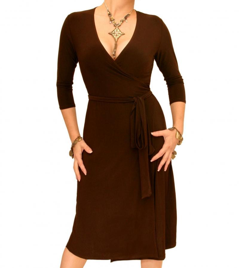 Brown Elegant Wrap Dress