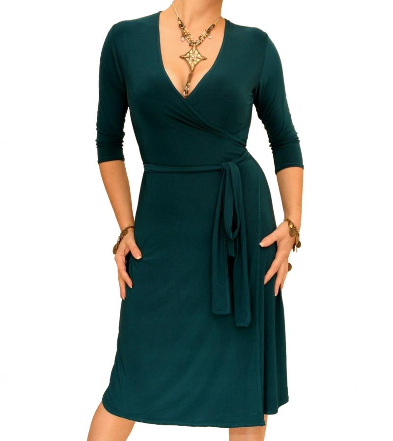 Teal Elegant Wrap Dress