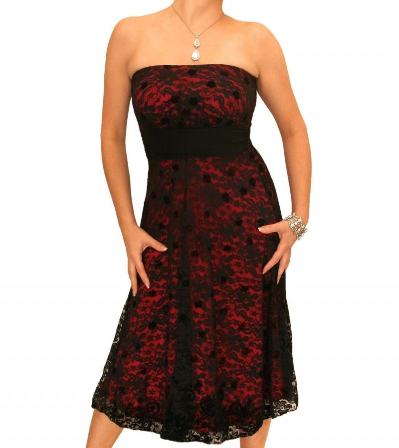 Red and Black Lace Strapless Dress