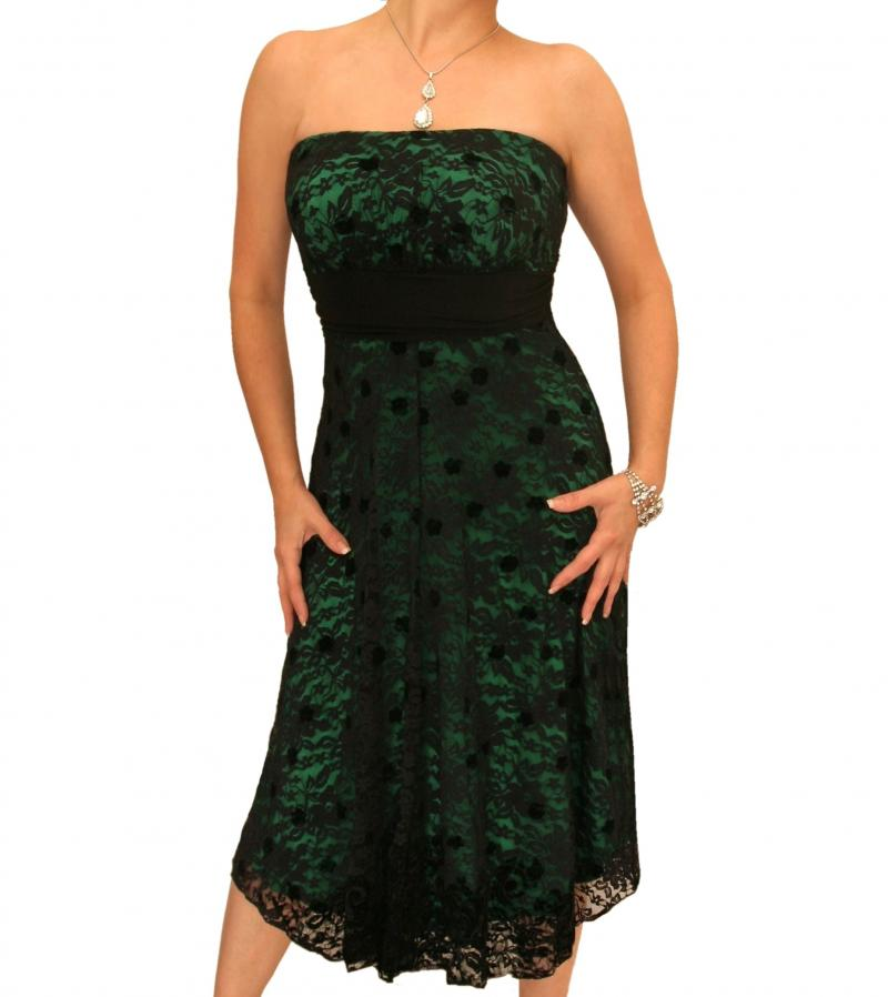 green and black lace strapless dress