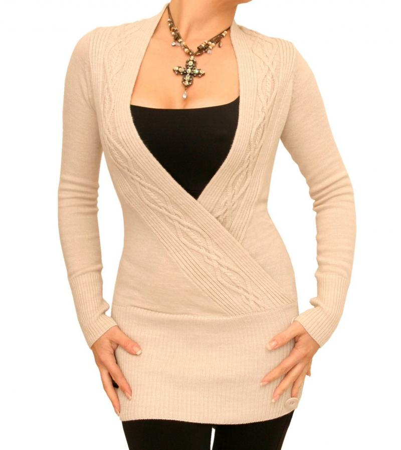 Knitting Pattern For Tunic Jumper : Beige Cable Knit Wrap Tunic Jumper