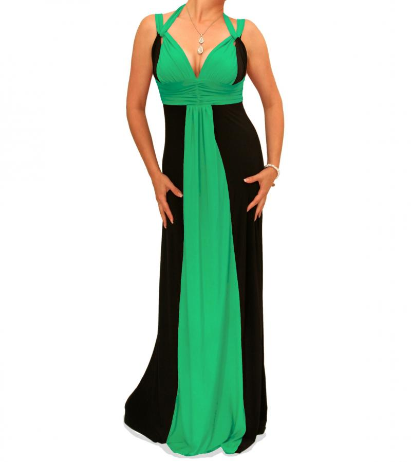 Green and Black Long Evening Dress