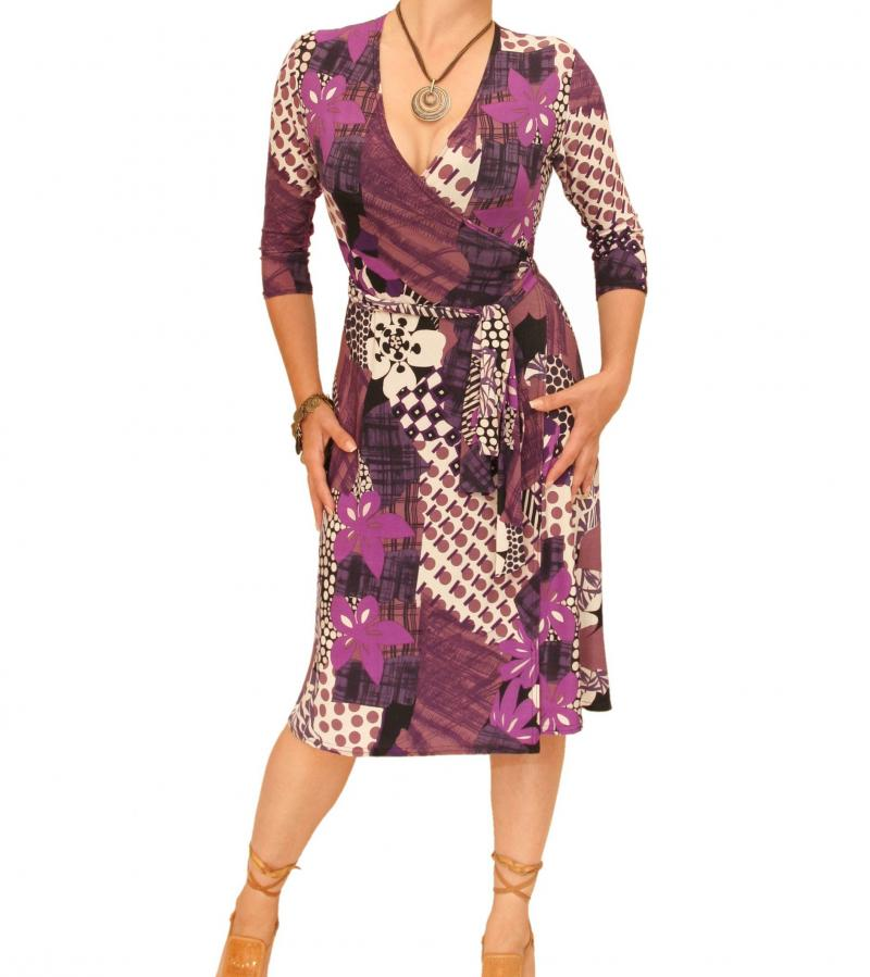 Purple Print Slinky Wrap Dress