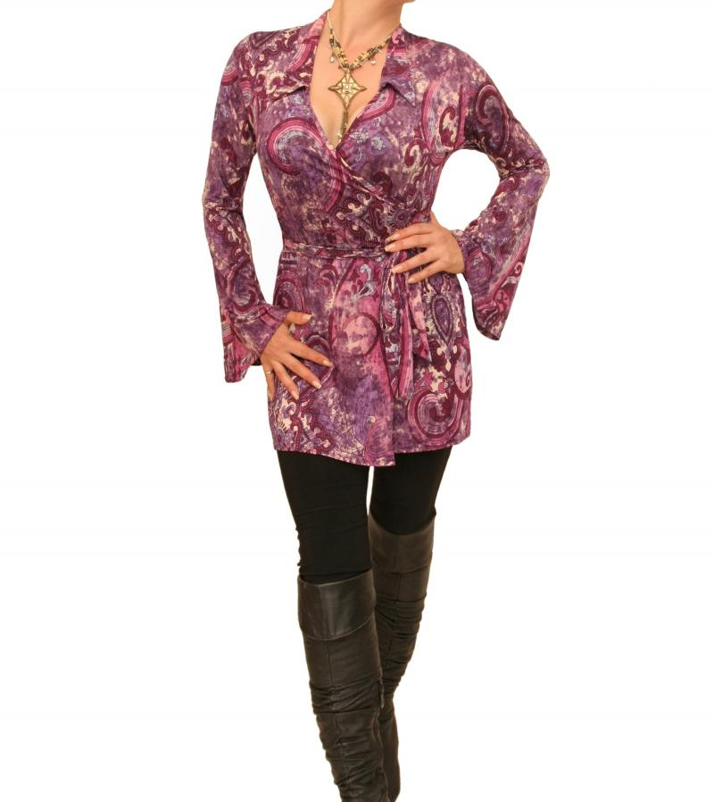 Purple And Pink Bell Sleeve Wrap Top