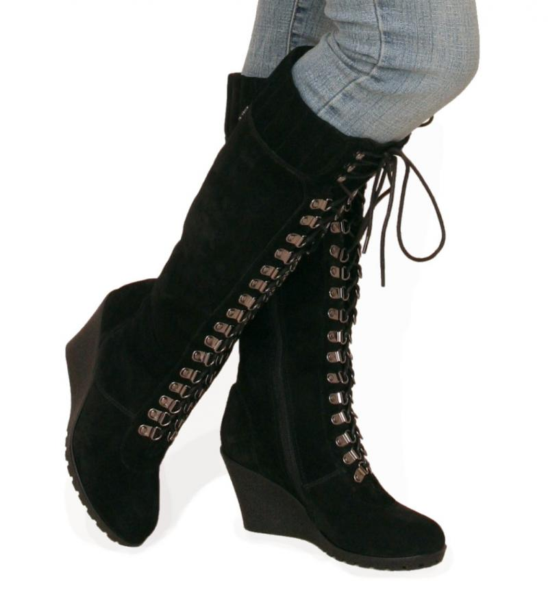 black suede leather lace up wedge boots