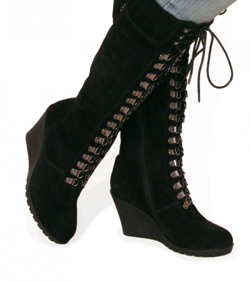 just blue black suede leather lace up wedge boots