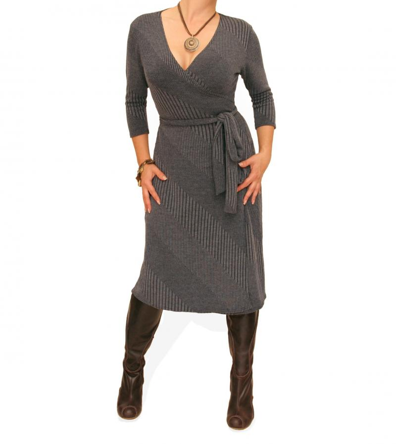 Grey Ribbed Knitted Wrap Dress
