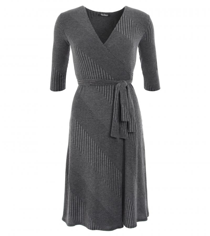 Knitting Pattern Wrap Dress : just blue - grey ribbed knitted wrap dress