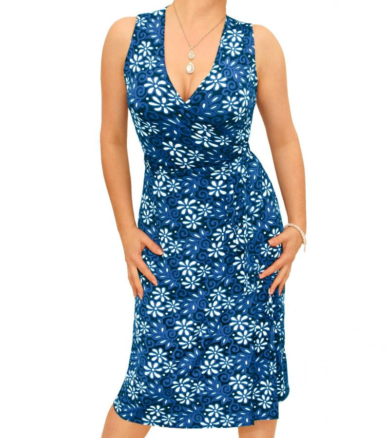 Blue Floral Print Sleeveless Wrap Dress