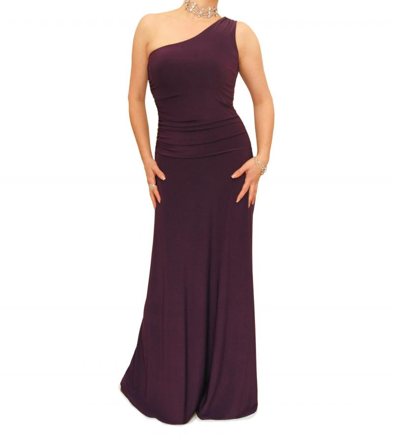 Purple One Shoulder Long Evening Dress