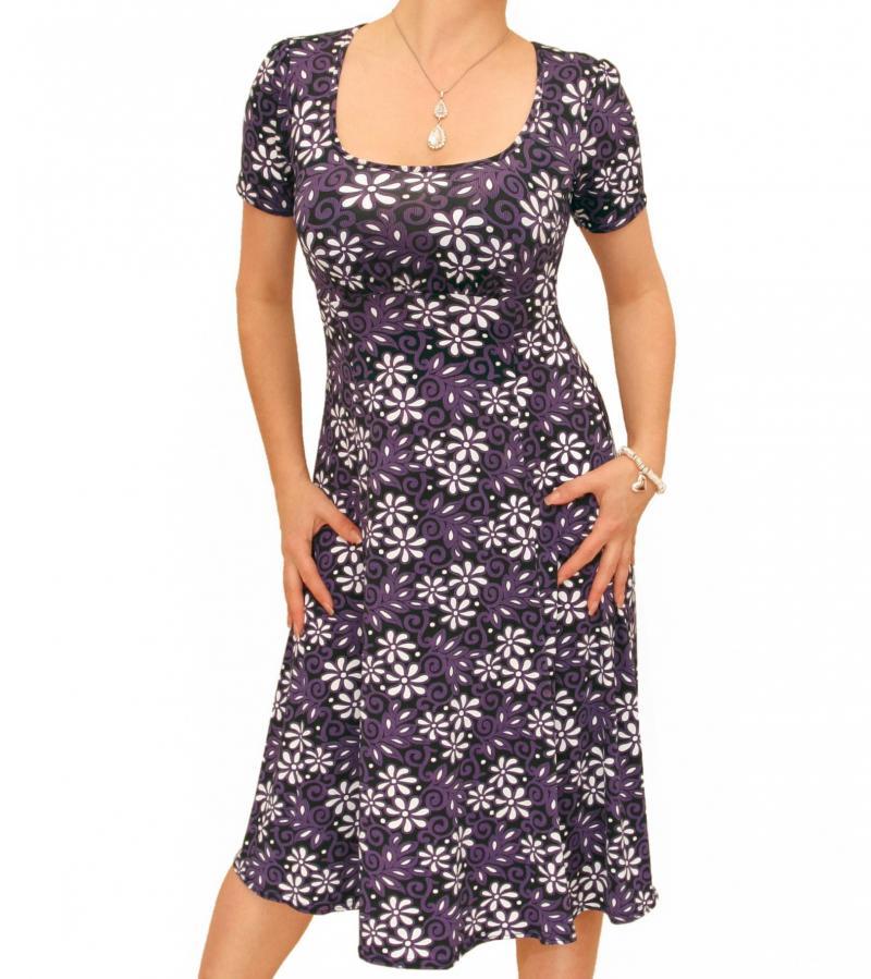 Purple Floral Print Tea Dress