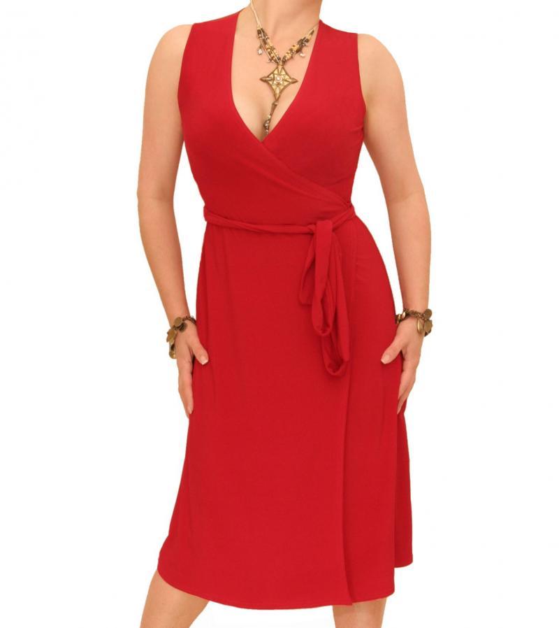 Red Sleeveless Wrap Dress