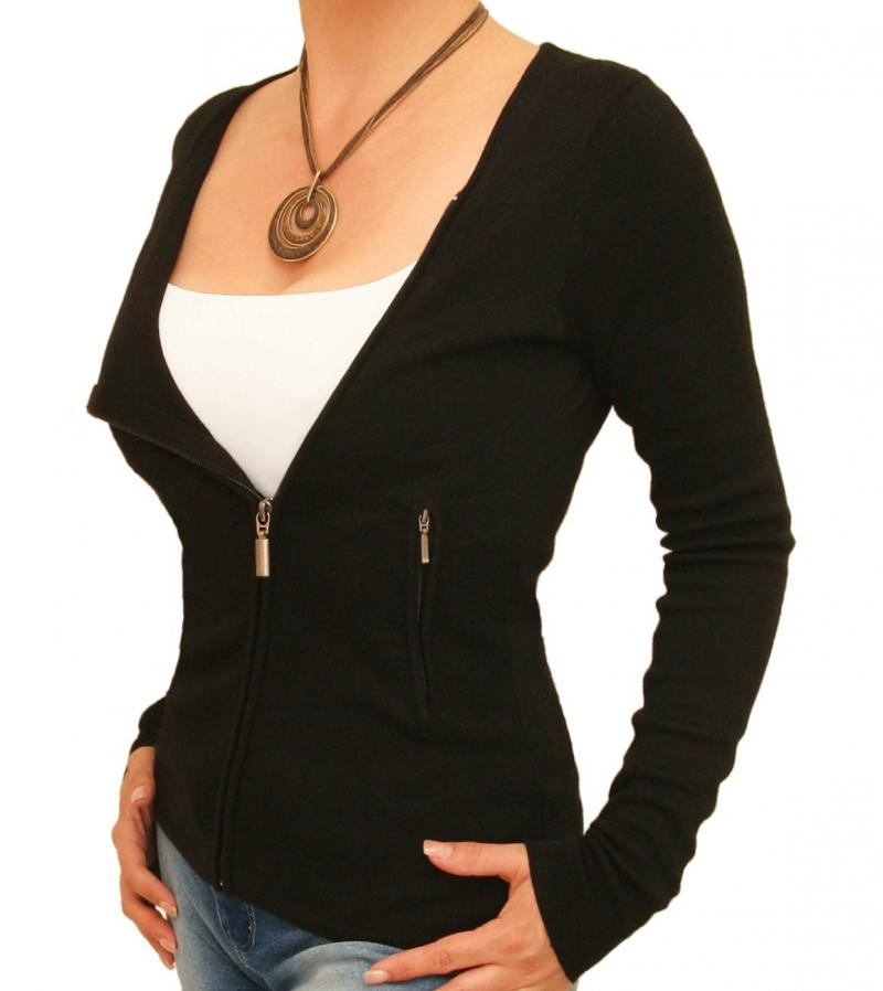 Black Biker Style Zip Up Cardigan