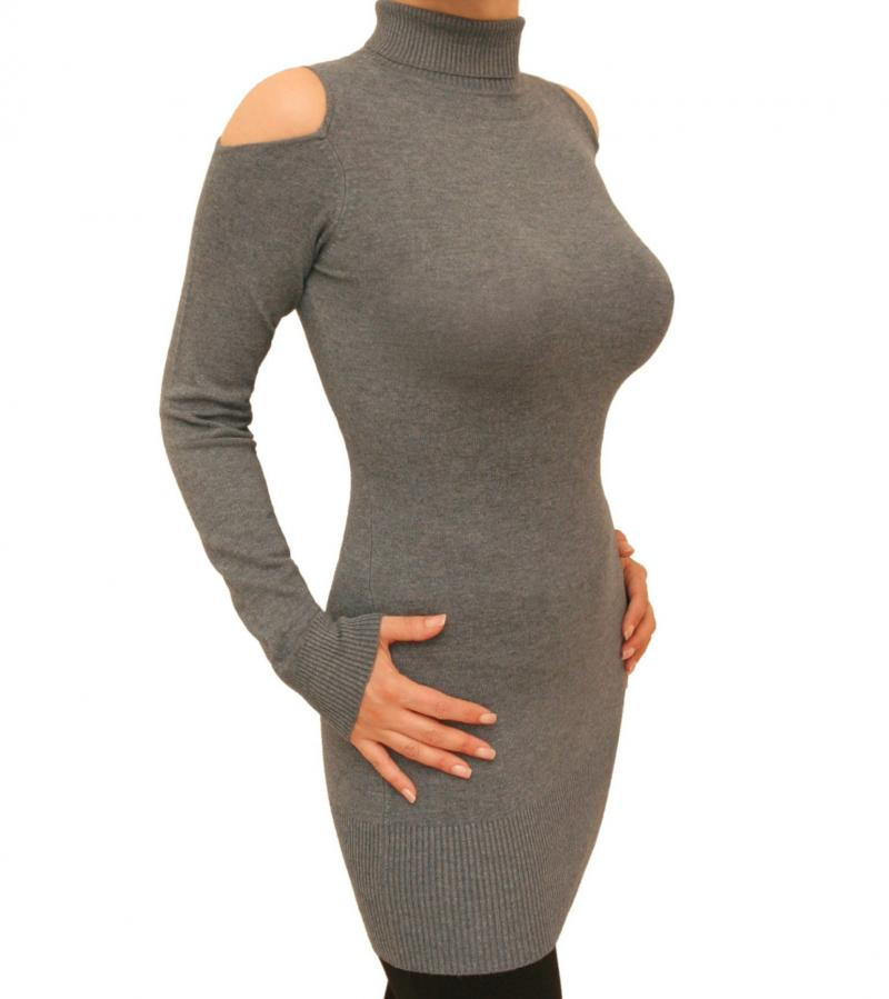 Grey Cold Shoulder Polo Neck Jumper