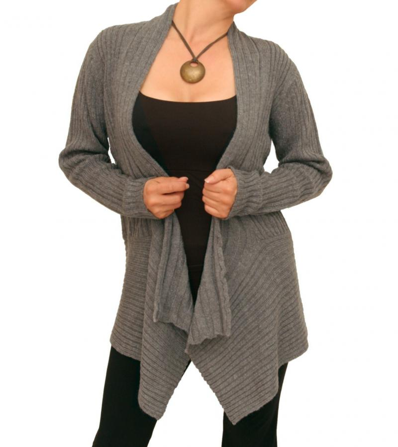 Grey Ribbed Waterfall Cardigan