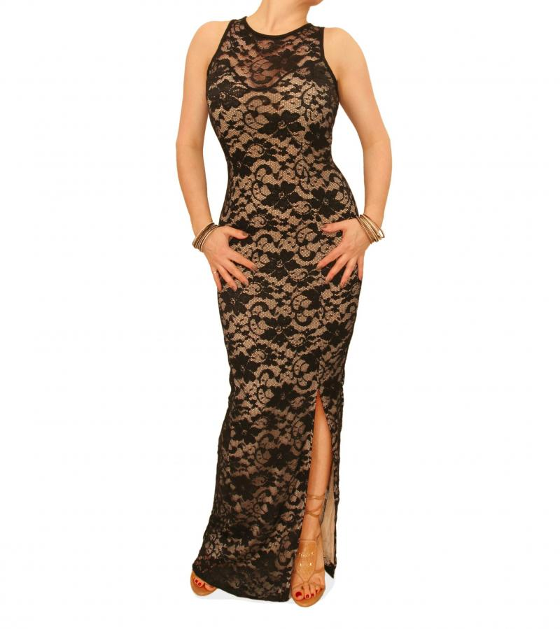 Nude and Black Lace Maxi Dress