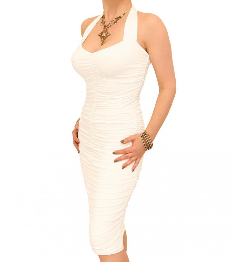 Ivory Ruched Halter Neck Dress