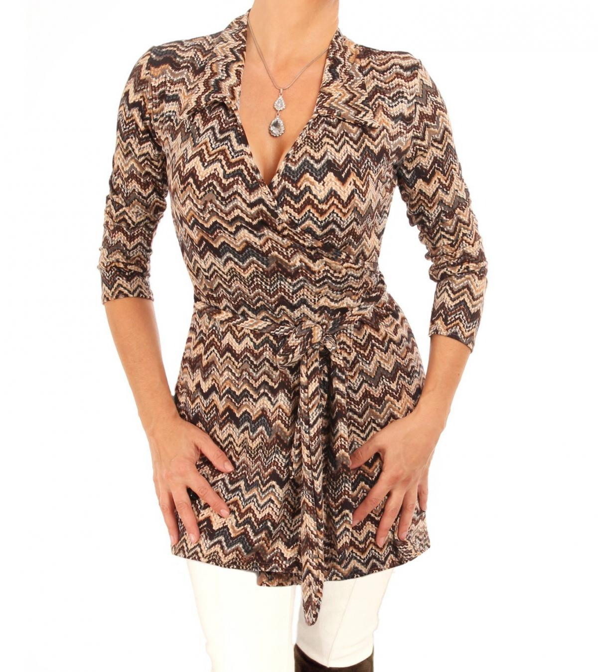Brown Zig Zag Print Wrap Top