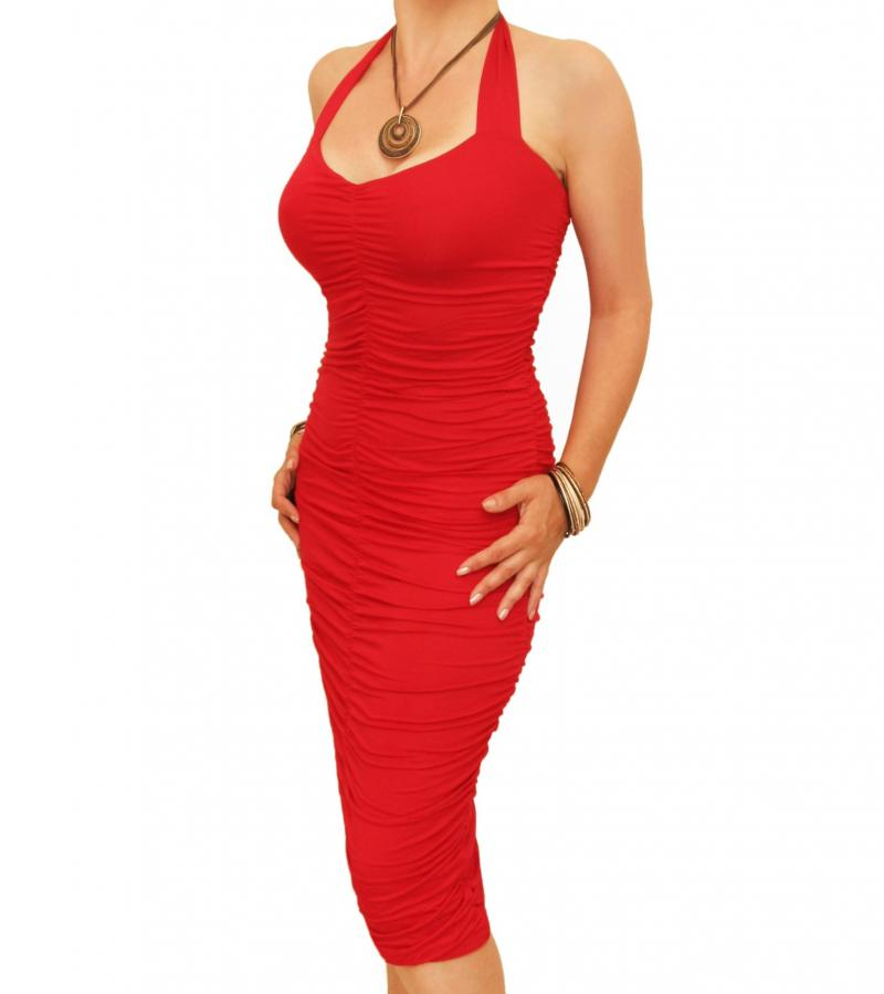 Red Ruched Halter Neck Dress
