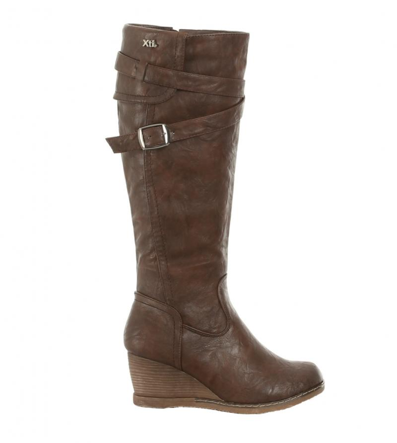 brown leather effect wedge boots