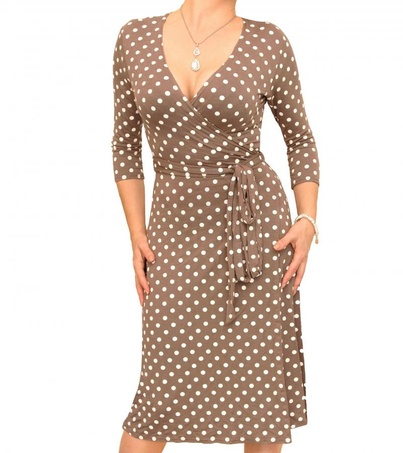 Mocha And Ivory Spotted Wrap Dress