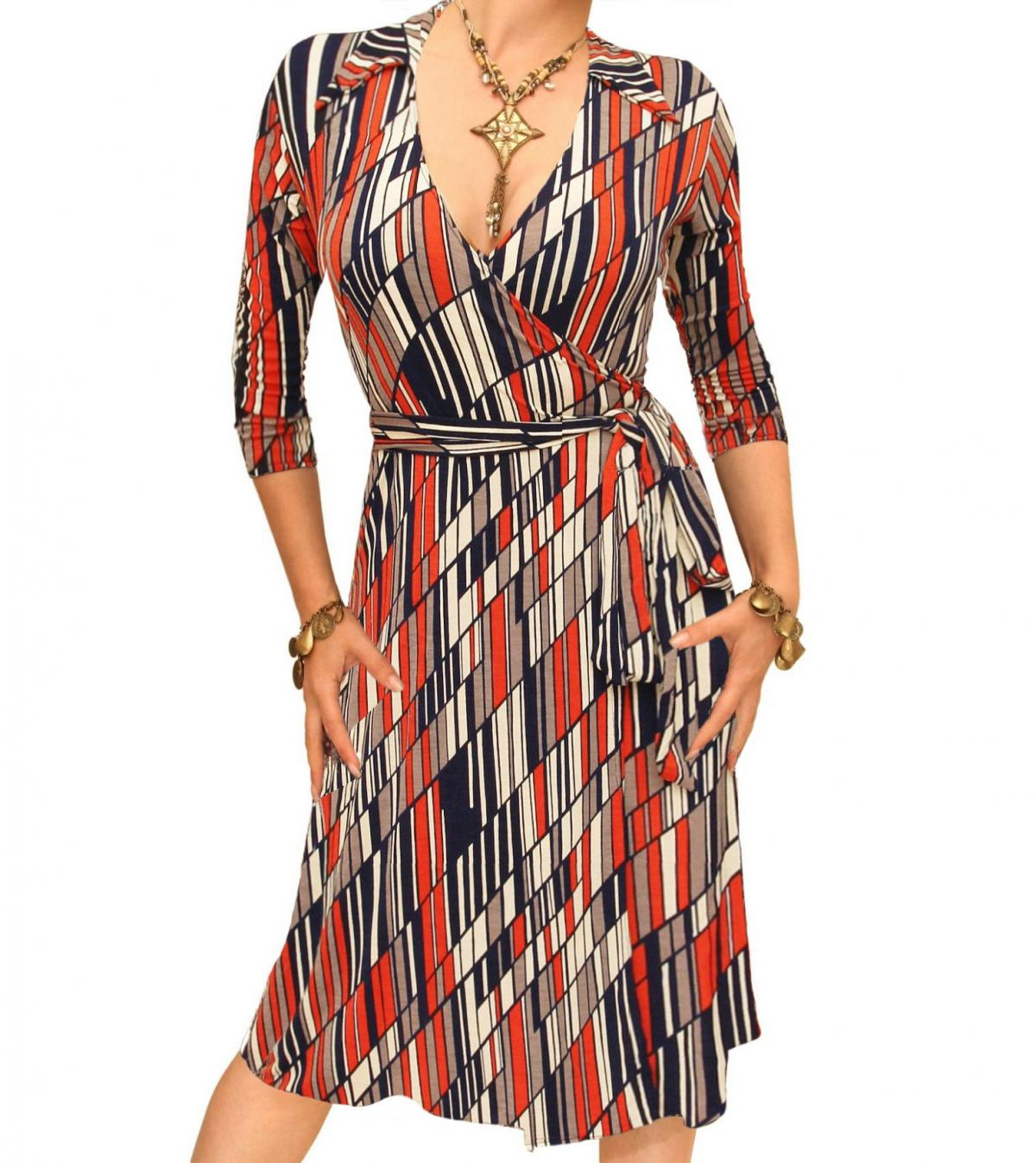 Orange And Navy Blue Printed Collared Wrap Dress