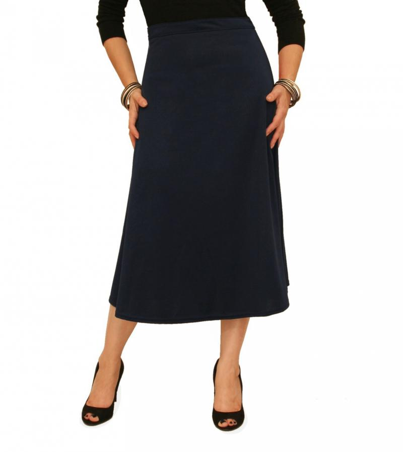 Navy Blue Ponte A Line Skirt