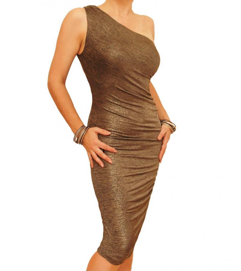 Dark Gold Figure Hugging Ruched Dress