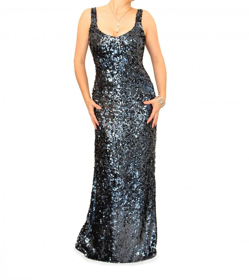 Midnight Blue Full Length Sequin Dress