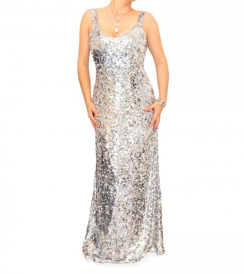 Silver Full Length Sequin Dress