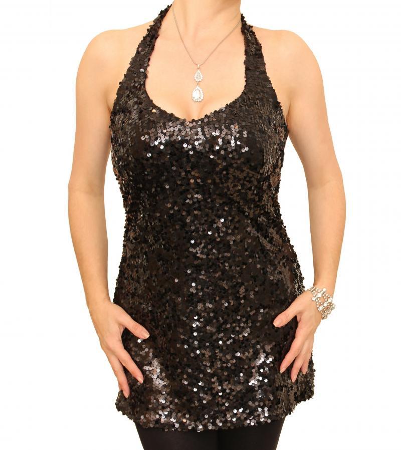 Black Sequin Halter Neck Top