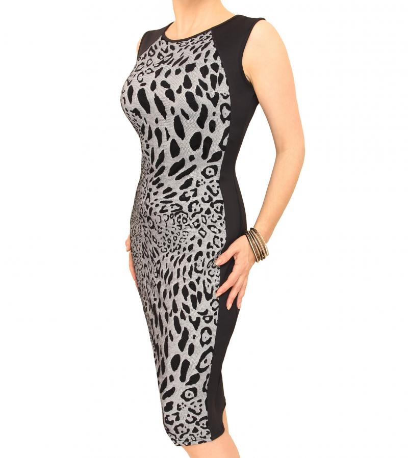 Grey and Black Animal Print Panelled Shift Dress