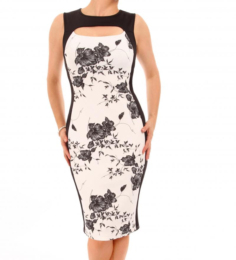 Ivory Floral Cut Out Keyhole Dress
