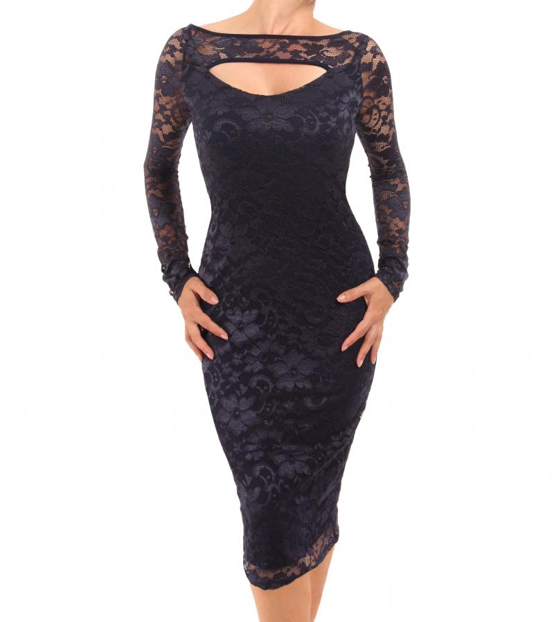 Navy Blue Lace Keyhole Dress
