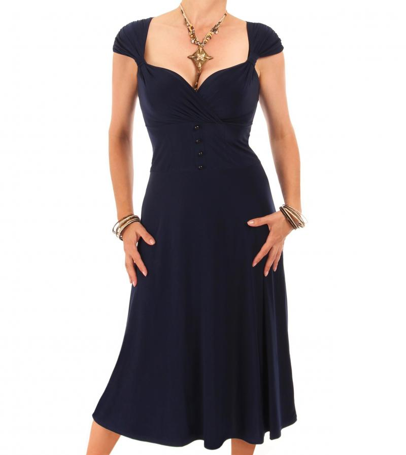 Navy Blue Sweetheart Neckline Dress