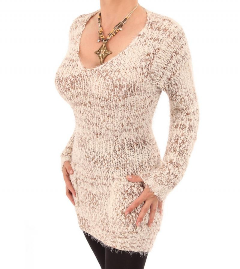 Beige and Ivory Marl Chunky Knit Jumper